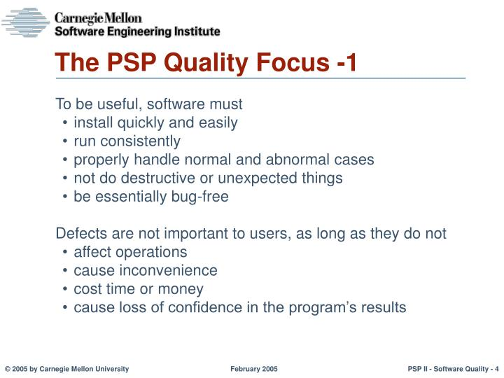 The PSP Quality Focus -1