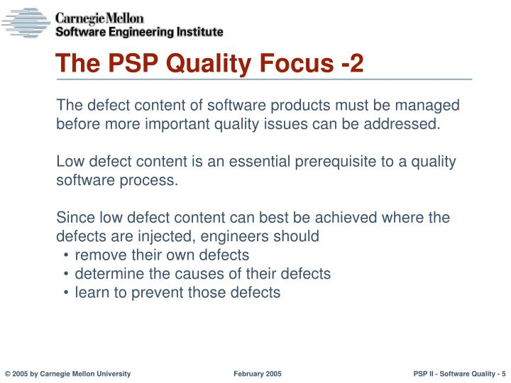 The PSP Quality Focus -2