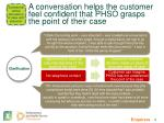 a conversation helps the customer feel confident that phso grasps the point of their case