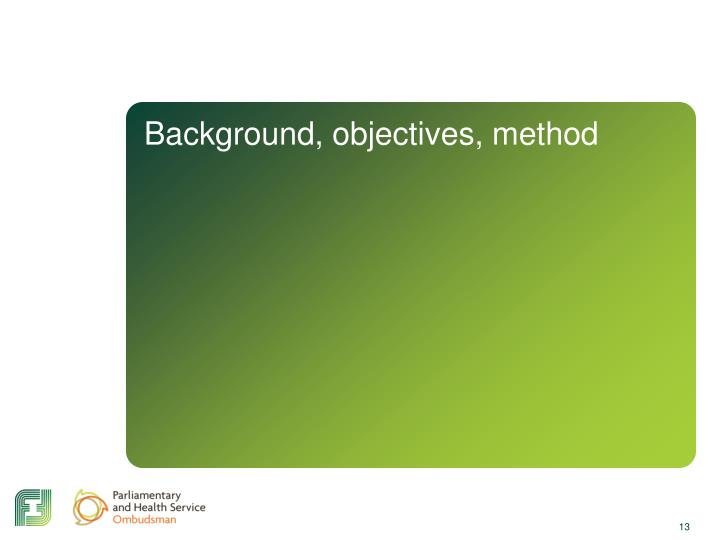 Background, objectives, method