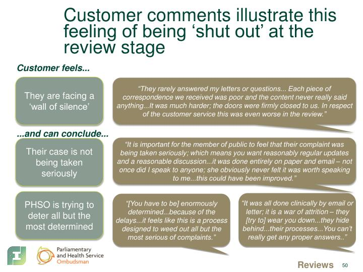 Customer comments illustrate this feeling of being 'shut out' at the review stage