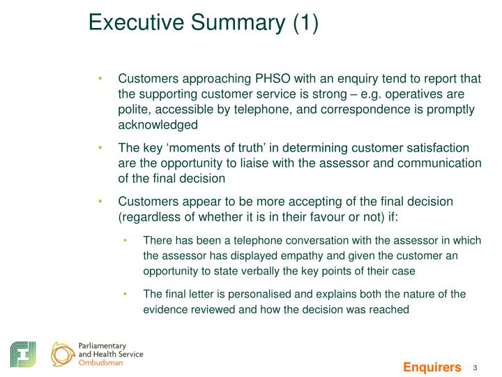 Executive summary 1