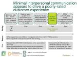 minimal interpersonal communication appears to drive a poorly rated customer experience
