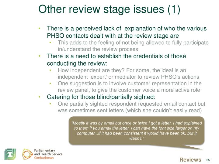 Other review stage issues (1)