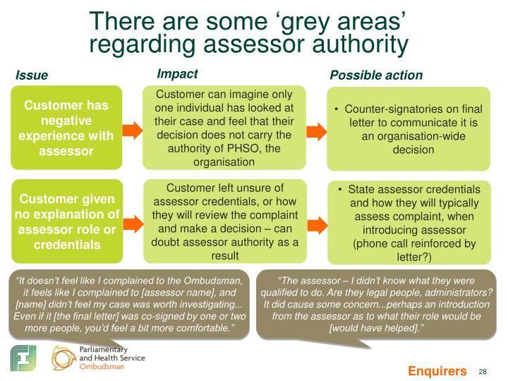 There are some 'grey areas' regarding assessor authority
