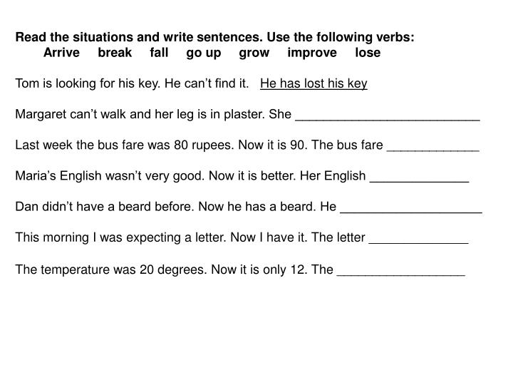 Read the situations and write sentences. Use the following verbs: