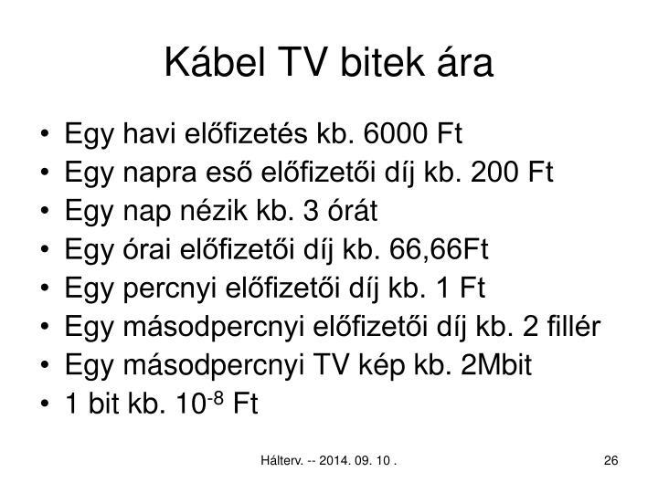 Kábel TV bitek ára