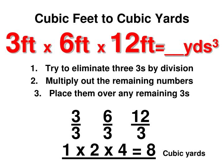 Cubic Feet to Cubic Yards