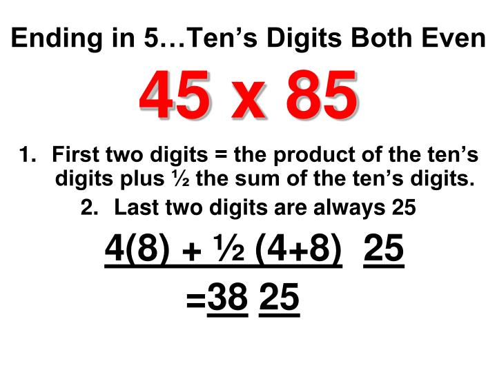 Ending in 5…Ten's Digits Both Even