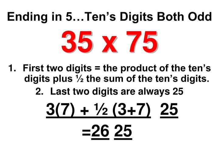 Ending in 5…Ten's Digits Both Odd