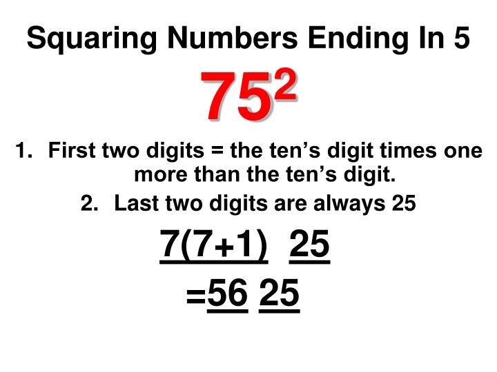 Squaring Numbers Ending In 5