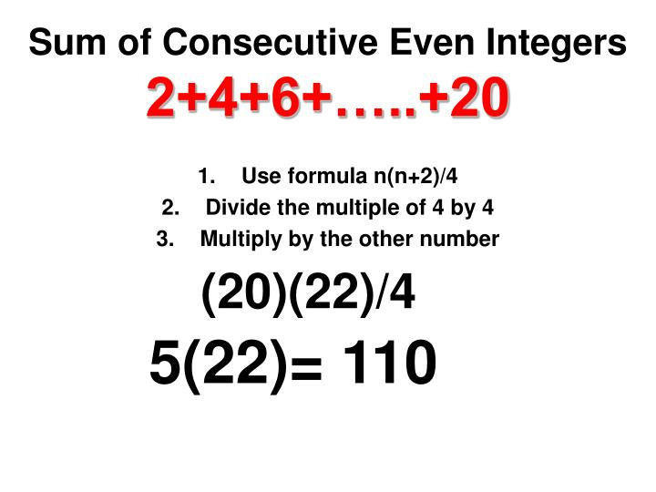 Sum of Consecutive Even Integers