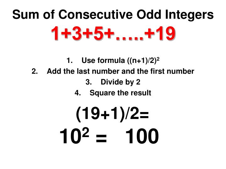 Sum of Consecutive Odd Integers