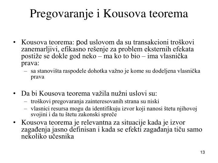 Pregovaranje i Kousova teorema