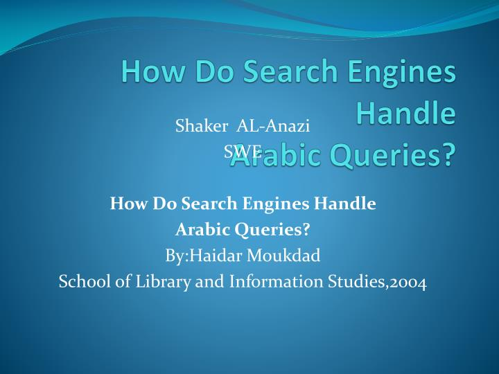 how do search engines handle arabic queries