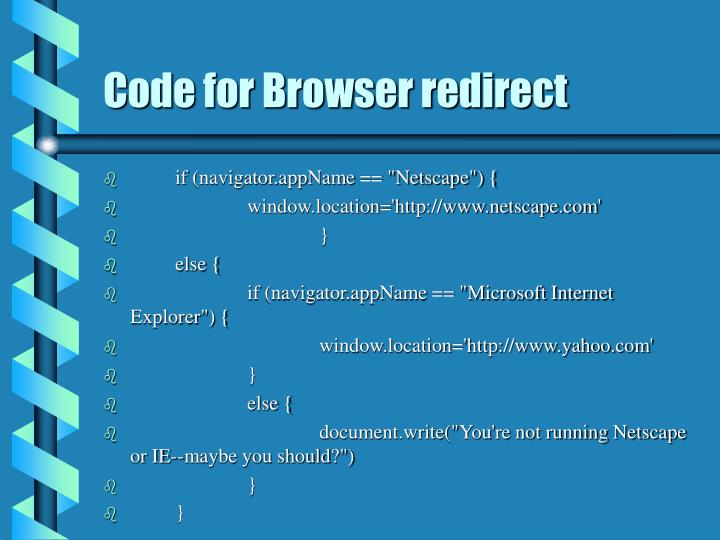 Code for Browser redirect