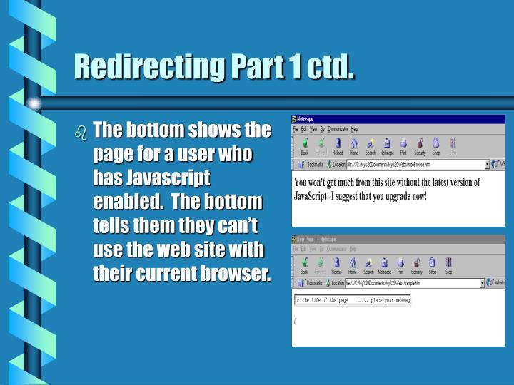 Redirecting Part 1 ctd.