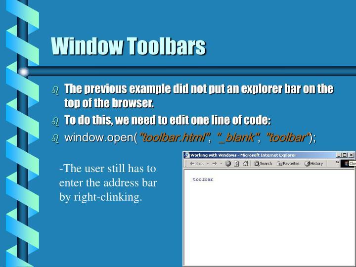 Window Toolbars