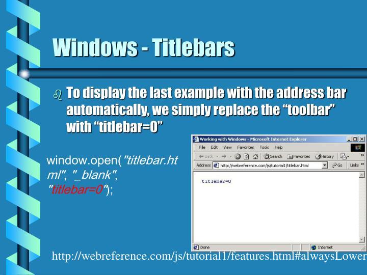 Windows - Titlebars