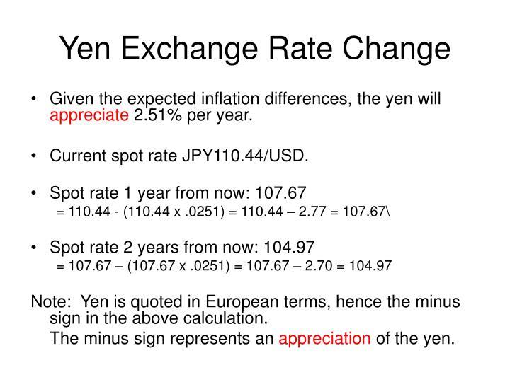 Yen Exchange Rate Change
