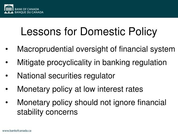 Lessons for Domestic Policy