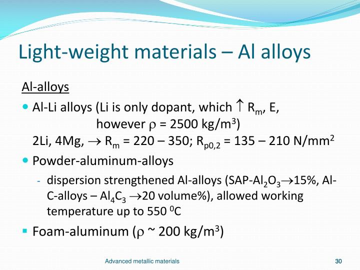 Light-weight materials –