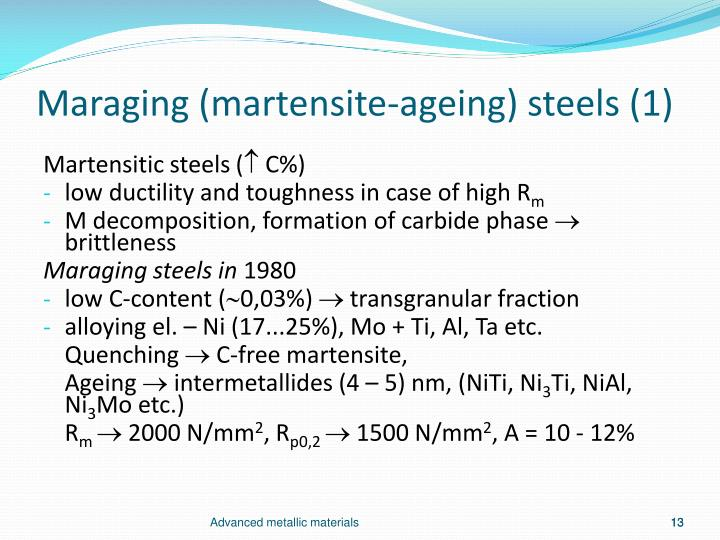 Maraging (martensite-ageing) steels (1)