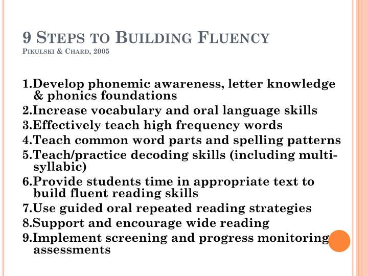 9 Steps to Building Fluency