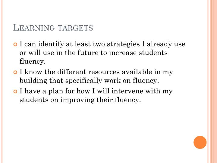 Learning targets
