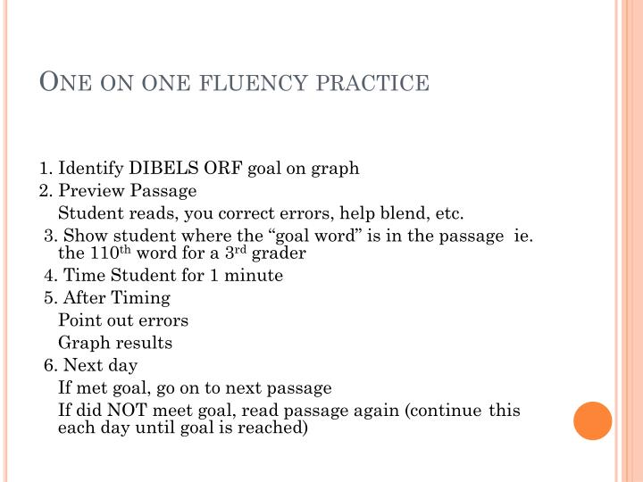 One on one fluency practice