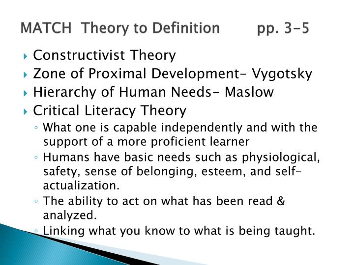 MATCH  Theory to Definition        pp. 3-5