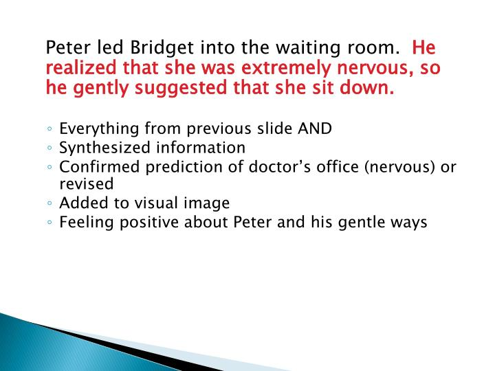 Peter led Bridget into the waiting room.