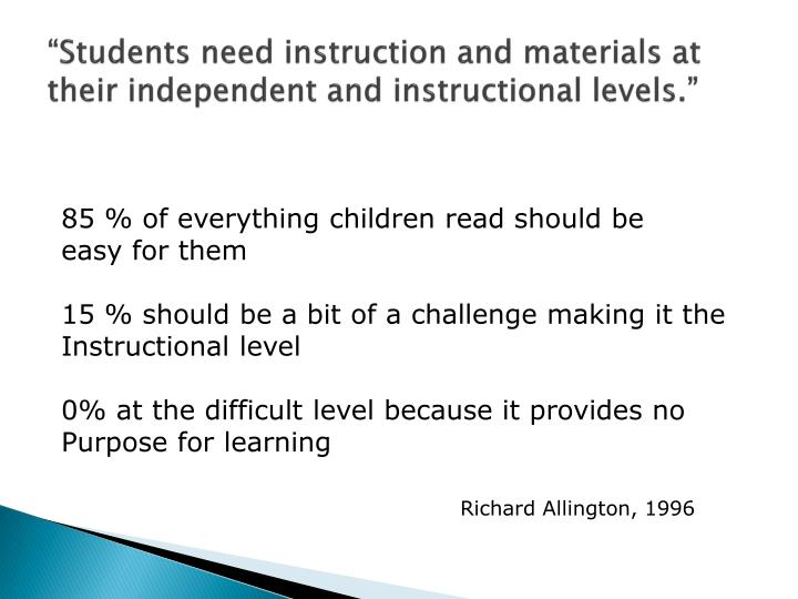"""Students need instruction and materials at their independent and instructional levels."""