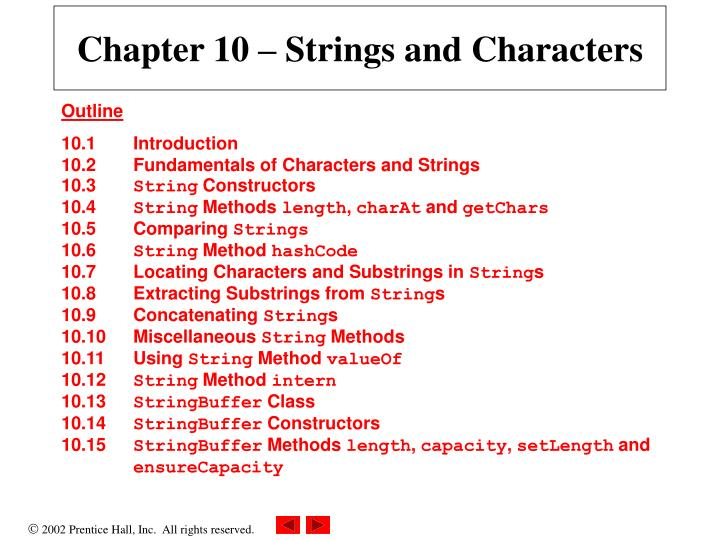 Chapter 10 strings and characters