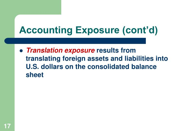 Accounting Exposure (cont'd)