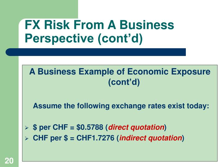 FX Risk From A Business Perspective (cont'd)