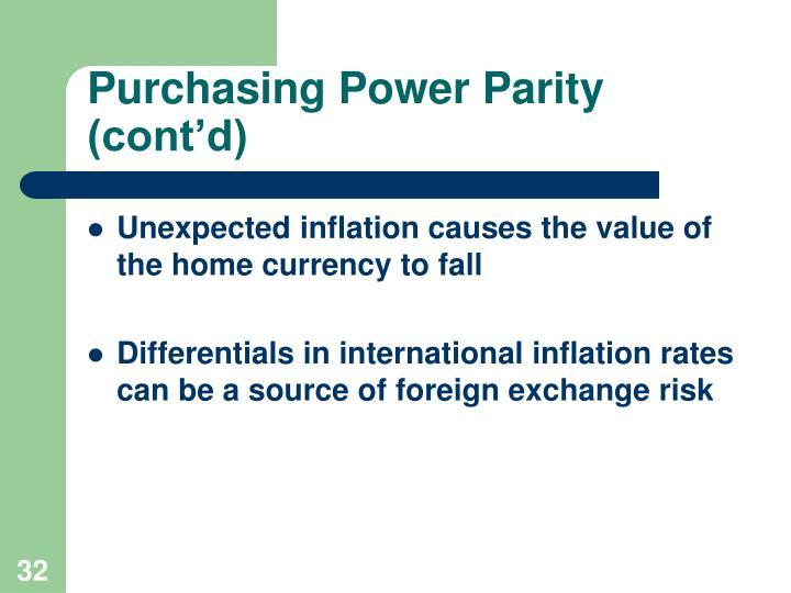 Purchasing Power Parity (cont'd)