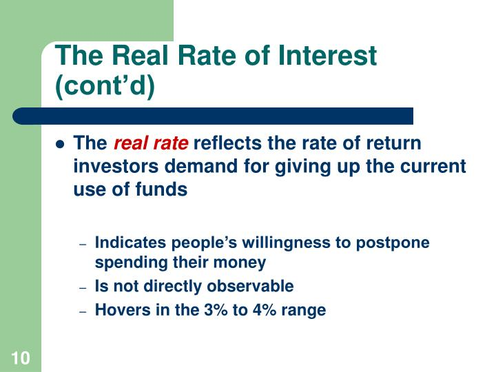 The Real Rate of Interest (cont'd)
