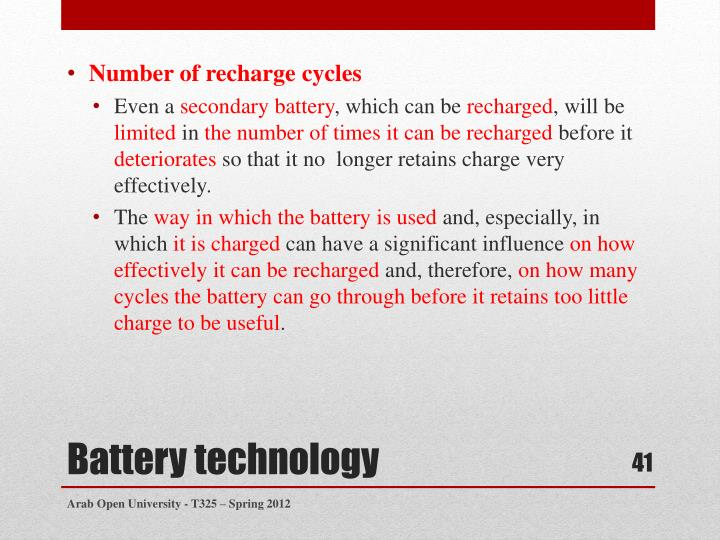 Number of recharge cycles