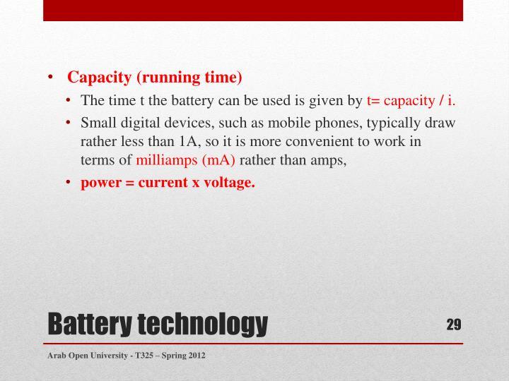 Capacity (running time)