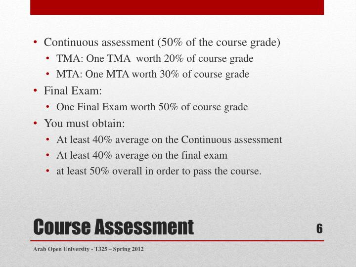 Continuous assessment (50% of the course grade)