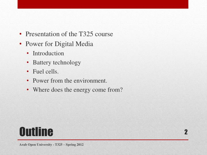 Presentation of the T325 course