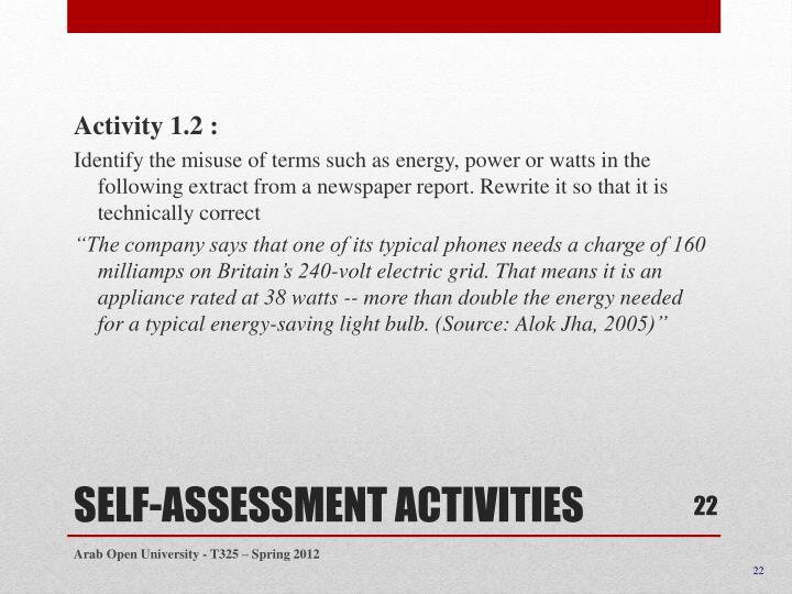 Activity 1.2 :