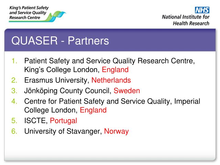 QUASER - Partners