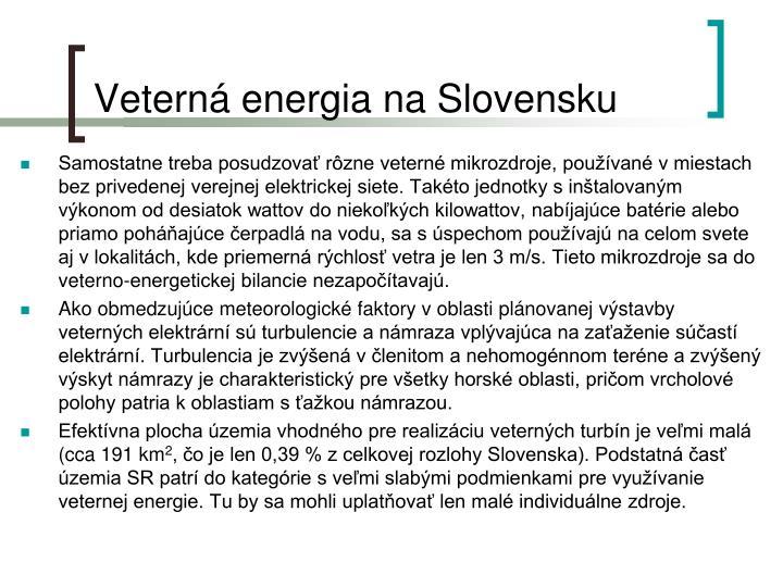 Veterná energia na Slovensku