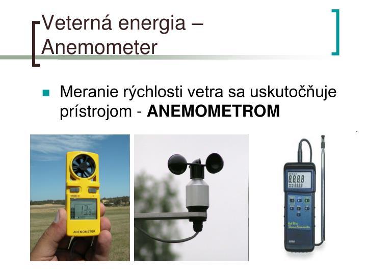 Veterná energia – Anemometer
