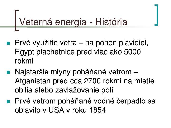 Veterná energia - História