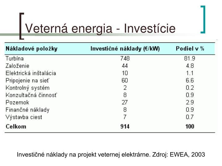 Veterná energia - Investície