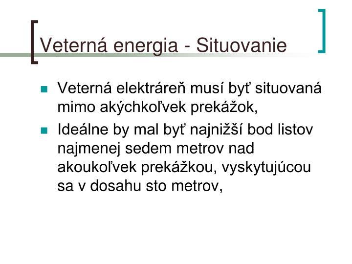 Veterná energia - Situovanie
