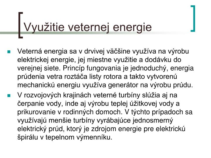 Využitie veternej energie